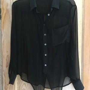 Equipment Sheer Black Silk Shirt, S,